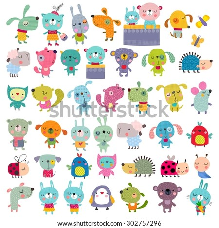 Cartoon characters over white background - stock photo