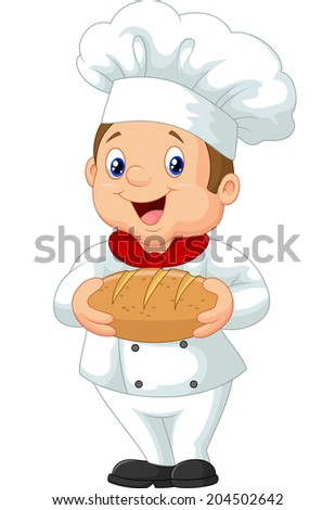 Cartoon chef holding a loaf of bread - stock photo