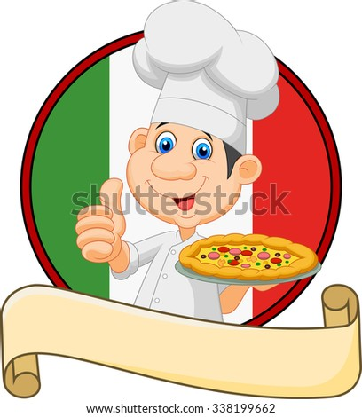 Cartoon chef holding a pizza and giving a thumbs up  - stock photo