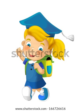 Cartoon child going to the school - illustration for the children - stock photo