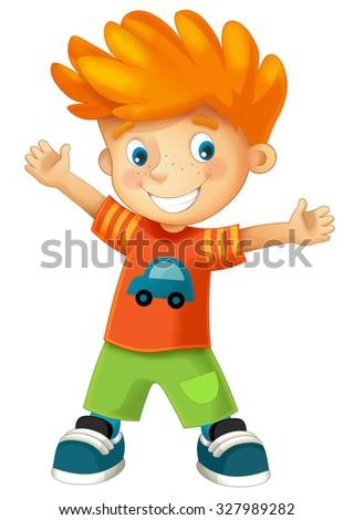 Cartoon child - happy boy - illustration for the children - stock photo