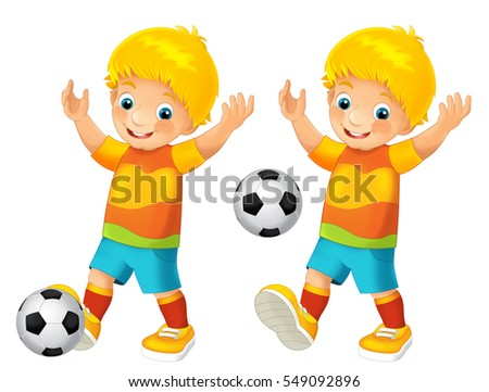 cartoon child playing football activity illustration for children