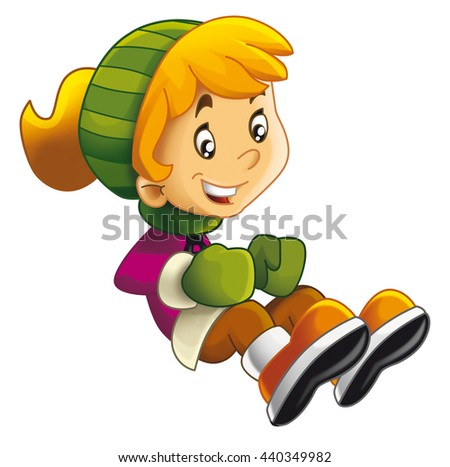 Cartoon child sitting or jumping - moving - activity - isolated - illustration for children