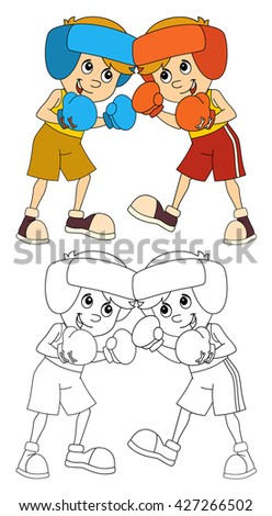 Cartoon child training - boxing - isolated - illustration for the children - stock photo
