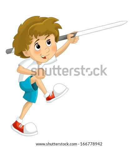 Cartoon child training - illustration for the children - stock photo