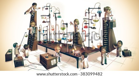 Cartoon children alchemist or scientists kid experimenting chemistry science in massive chemical tower refinery lab with test tube beaker science tool in medieval retro vintage laboratory illustration - stock photo