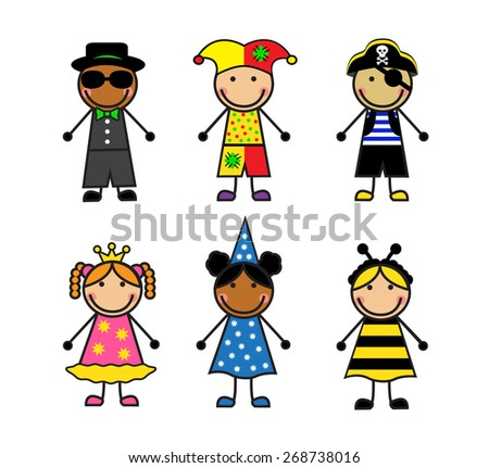 Cartoon children in different carnival costumes on white background - stock photo