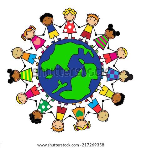 Cartoon Children Different Nationalities On Planet Stock ...