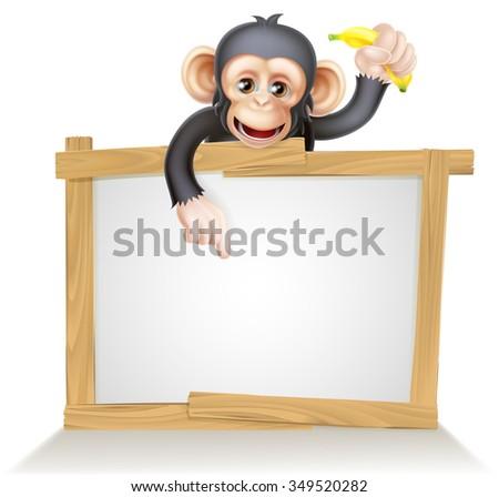 Cartoon chimp monkey like character mascot above a blank sign holding a banana - stock photo