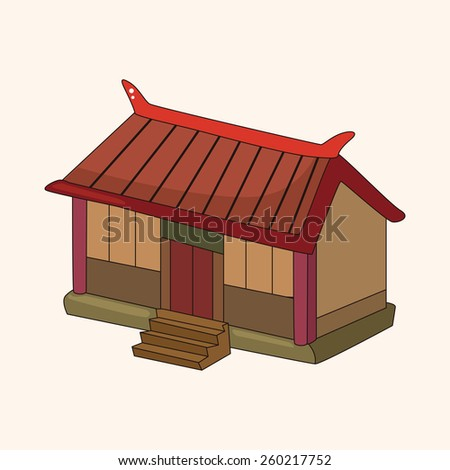 cartoon Chinese building