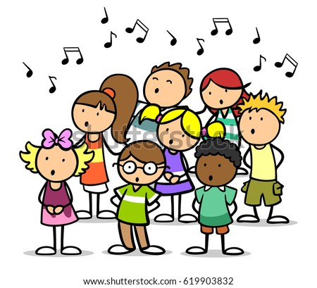 cartoon choir of children singing song as music school concept - Cartoon Picture Of Children