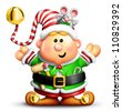 Cartoon Christmas Elf with Tools and Mouse - stock photo