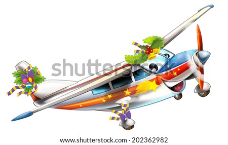 Cartoon christmas plane - illustration for the children - stock photo
