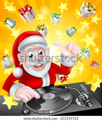 Cartoon Christmas Santa Claus DJ at the record decks with Christmas gift presents and stars in the background - stock photo