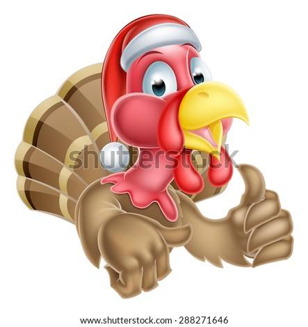 Cartoon Christmas turkey mascot giving a thumbs up and wearing a Santa hat - stock photo