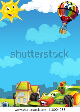 Cartoon city look with f1 - illustration for the children