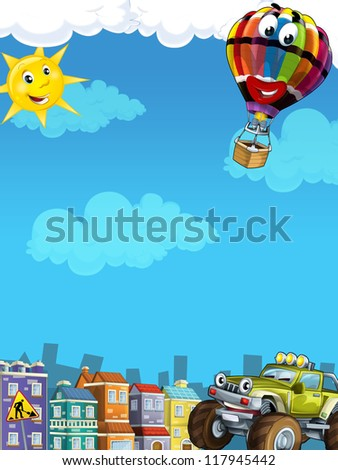 Cartoon city look with terrain car - illustration for the children - stock photo