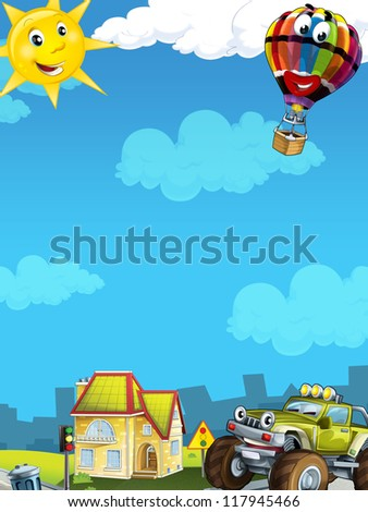 Cartoon city look with terrain car - illustration for the children