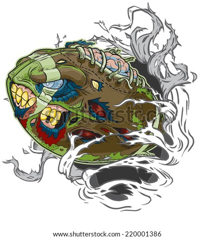 Cartoon clip art illustration of a Zombie Football Ripping out of the Background!  - stock photo