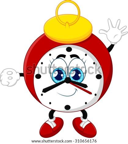 Cartoon clock waving hand on white background - stock photo
