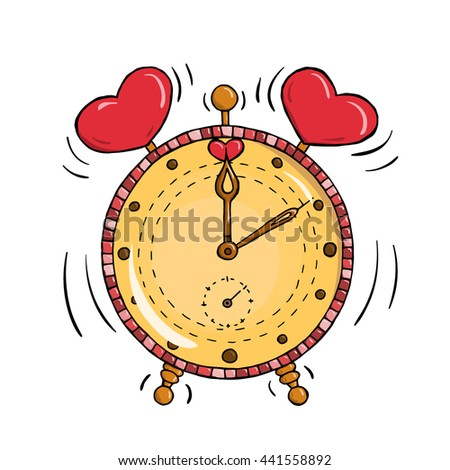 Cartoon clock with hearts isolated on a white. Valentine's day card. Time for love - stock photo
