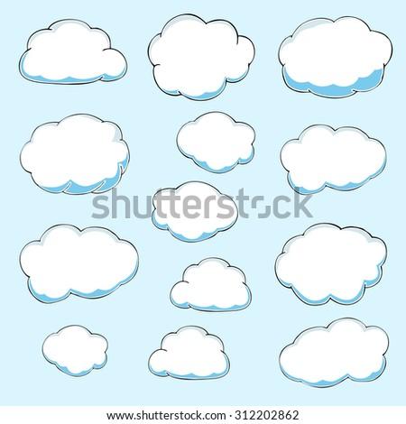 Cartoon clouds. Illustration on blue background.  - stock photo