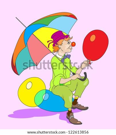 cartoon clown - stock photo