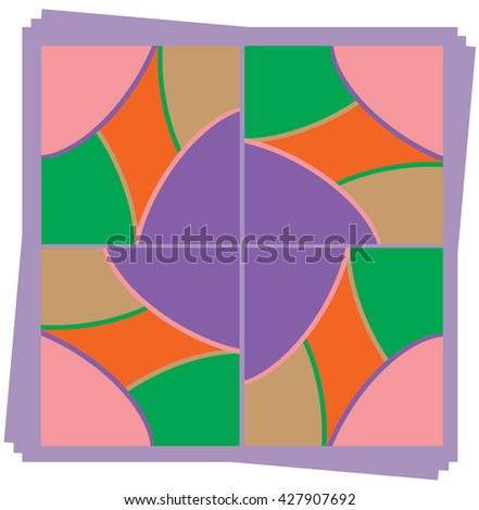 Cartoon colorful fun and bright abstract background for design. In the figure there are five colors; green, pink, orange, purple and light brown - stock photo