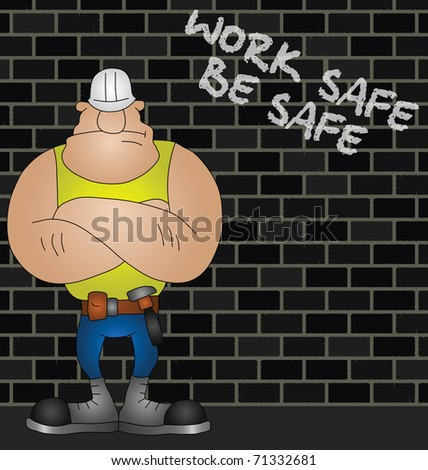 Cartoon construction worker with health and safety message - stock photo
