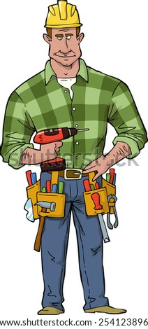 Cartoon construction worker with tools raster version - stock photo