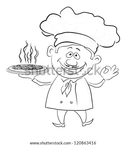 Cartoon cook - chef holds a delicious hot pizza, black contour on white background. - stock photo