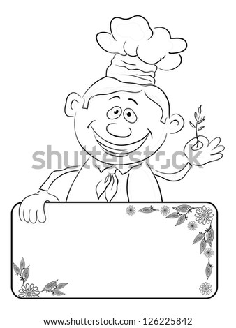 Cartoon cook - chef with blank banner for your text holding a sprig of spices, black contour on white background.