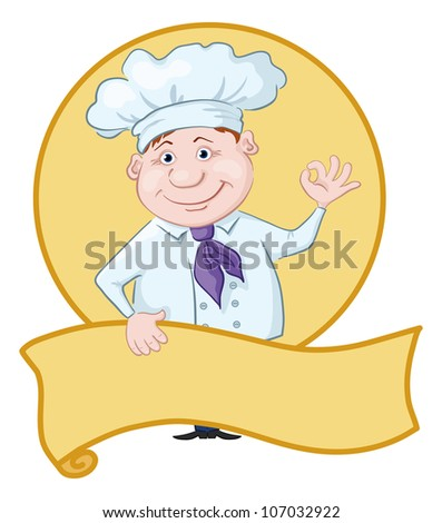 Cartoon cook - chef with poster showing ok hand sign - stock photo