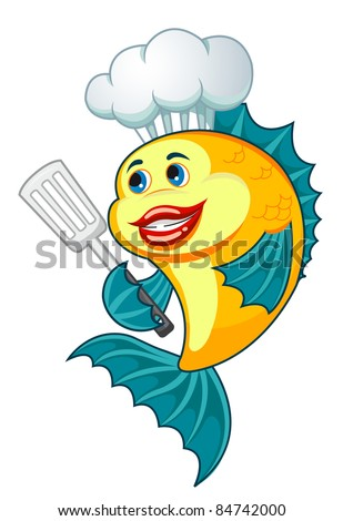 Cartoon cook fish with dishware for cooking concept. Rasterized version also available in gallery - stock photo