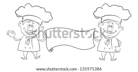 Cartoon cooks - chef with blank banner for your text, black contour on white background. - stock photo