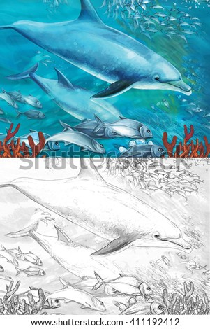 Cartoon coral reef with dolphins - with coloring page - illustration for the children - stock photo