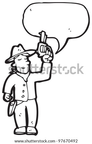 cartoon cowboy - stock photo