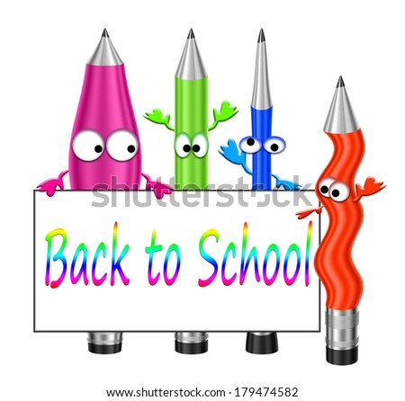 cartoon crayons , education and school start concept - stock photo