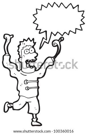 cartoon crazy madman with speech bubble - stock photo