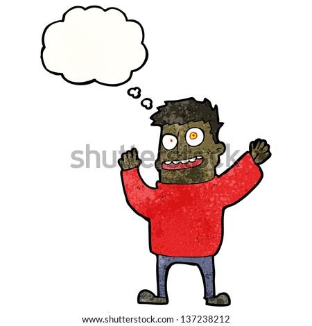 cartoon crazy man - stock photo