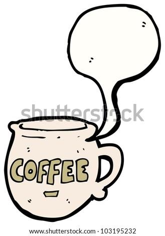 cartoon cup of coffee - stock photo