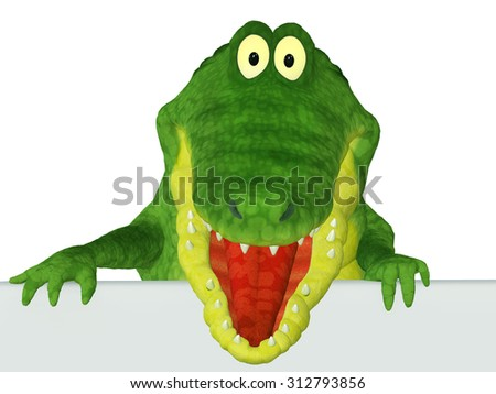 Cartoon 3d Crocodile with a blank Text area