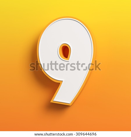 cartoon 3d font letter 9 - stock photo