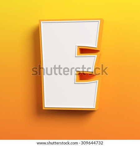 cartoon 3d font letter E - stock photo