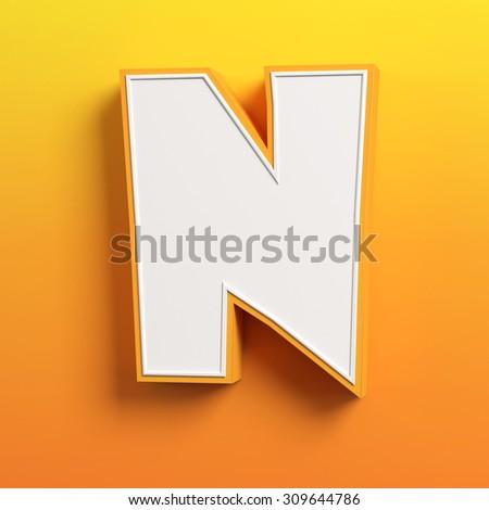 cartoon 3d font letter N - stock photo