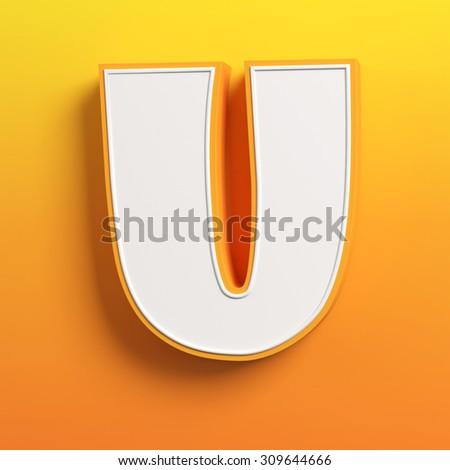 cartoon 3d font letter U - stock photo