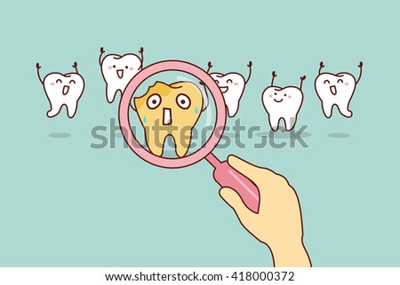 cartoon decay tooth with magnifying glass, great for health dental care concept - stock photo