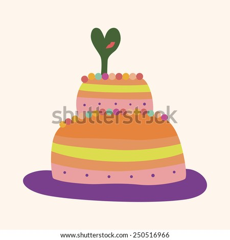 Simple Colorful Drawing Cake Wedding Birthday Stock ...