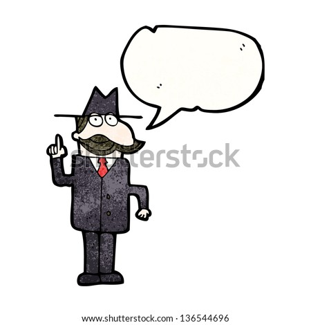 cartoon detective with speech bubble solving case