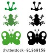 Cartoon Different Silhouettes.Raster Collection.Vector version is also available - stock photo